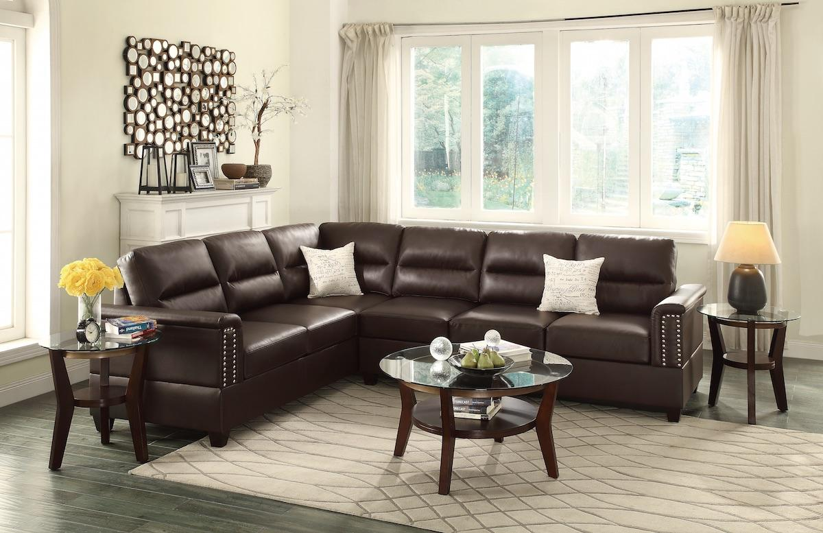 Espresso Bonded Leather Sectional Sofa
