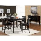 5Pcs Black Finish Faux Marble Top Counter Height Dining Set
